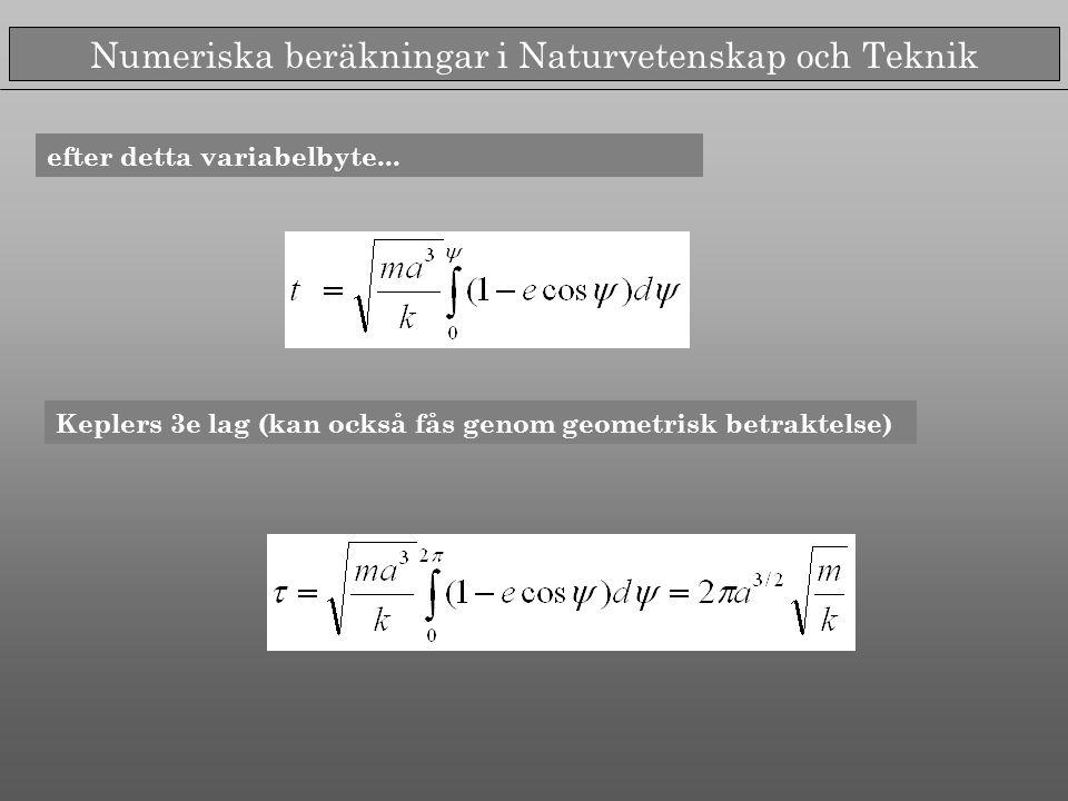 Numeriska beräkningar i Naturvetenskap och Teknik efter detta variabelbyte...