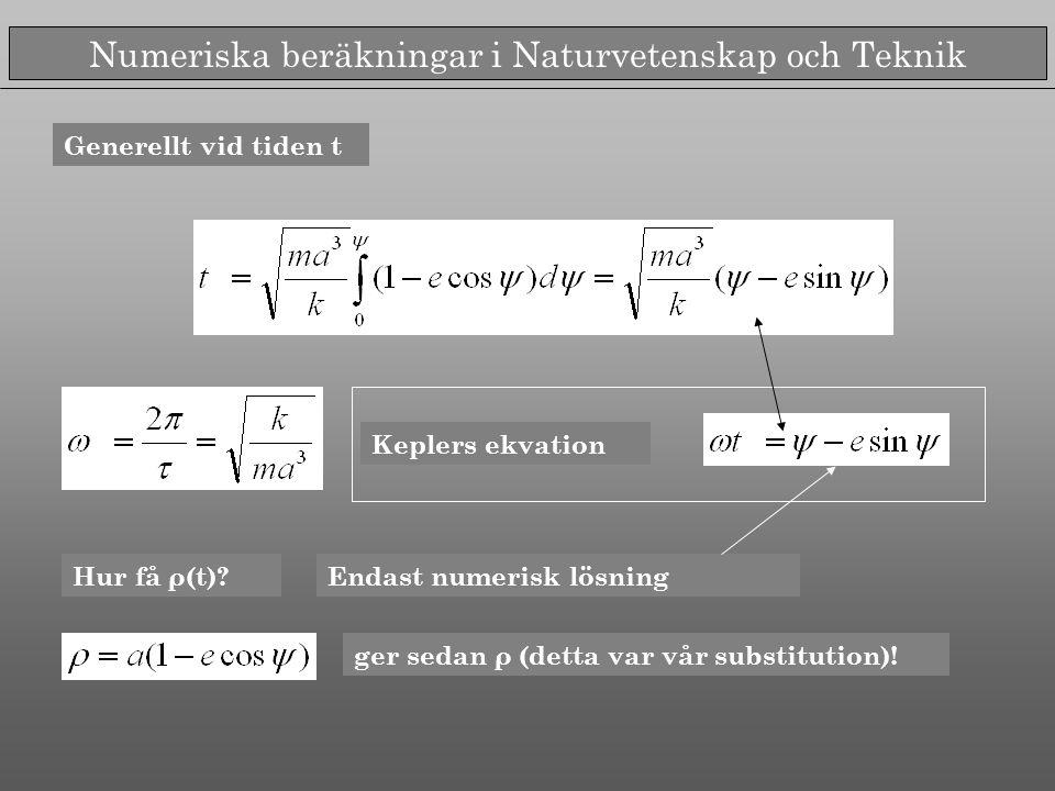Numeriska beräkningar i Naturvetenskap och Teknik Keplers ekvation Hur få ρ(t)?Endast numerisk lösning ger sedan ρ (detta var vår substitution).