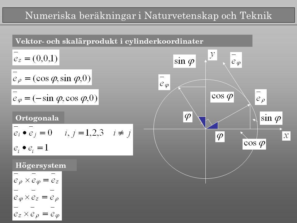 Numeriska beräkningar i Naturvetenskap och Teknik Rörelsekvationerna i planet i cylinderkoordinater Beror av kraftens form Kan integreras utan att kraften specifieras Man utnyttjar nu följande trick...