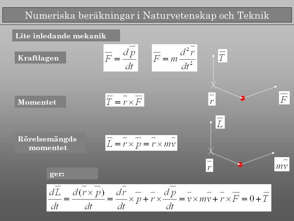 Numeriska beräkningar i Naturvetenskap och Teknik Kraftlagen Momentet Rörelsemängds momentet ger: Lite inledande mekanik
