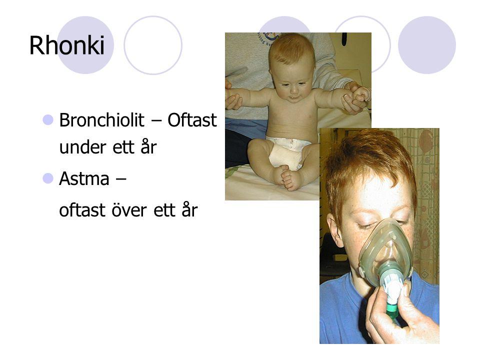 Rhonki  Bronchiolit – Oftast under ett år  Astma – oftast över ett år