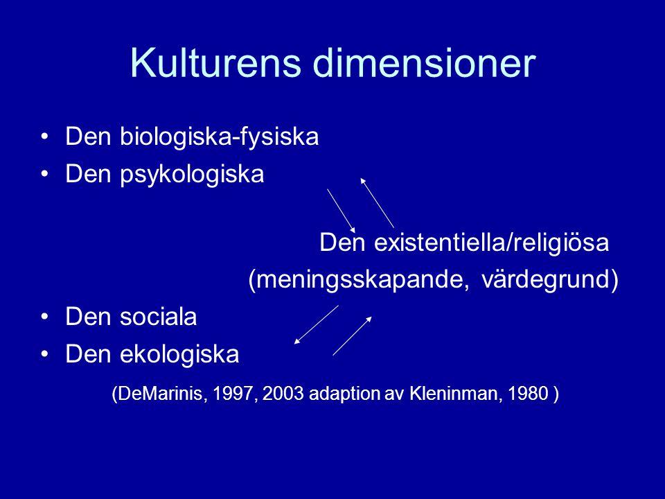 Kulturens dimensioner •Den biologiska-fysiska •Den psykologiska Den existentiella/religiösa (meningsskapande, värdegrund) •Den sociala •Den ekologiska