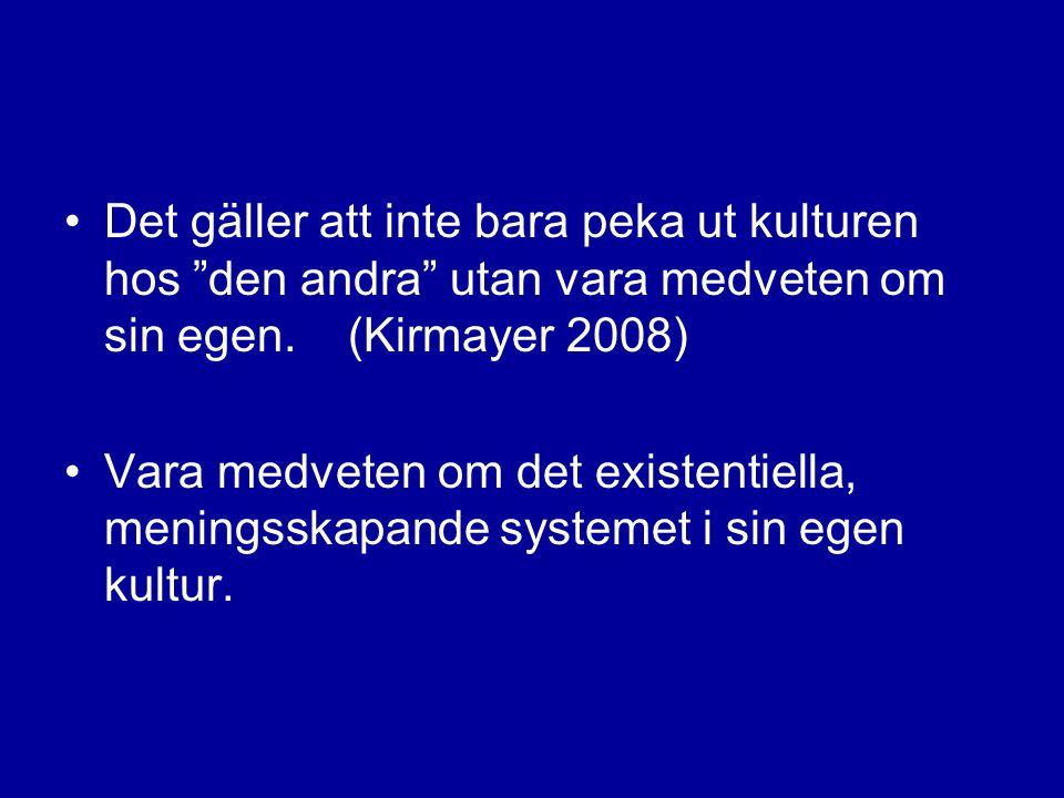 """•Det gäller att inte bara peka ut kulturen hos """"den andra"""" utan vara medveten om sin egen. (Kirmayer 2008) •Vara medveten om det existentiella, mening"""