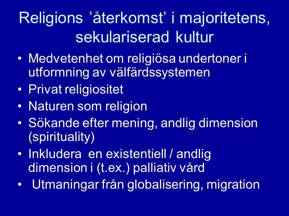 Religions 'återkomst' i majoritetens, sekulariserad kultur •Medvetenhet om religiösa undertoner i utformning av välfärdssystemen •Privat religiositet