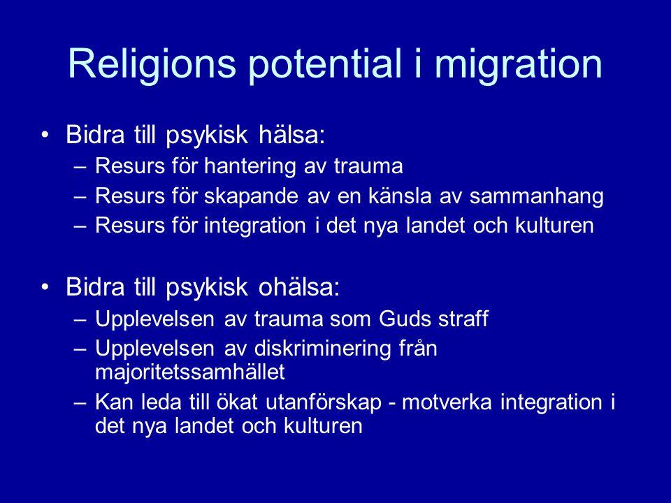 Religions potential i migration •Bidra till psykisk hälsa: –Resurs för hantering av trauma –Resurs för skapande av en känsla av sammanhang –Resurs för