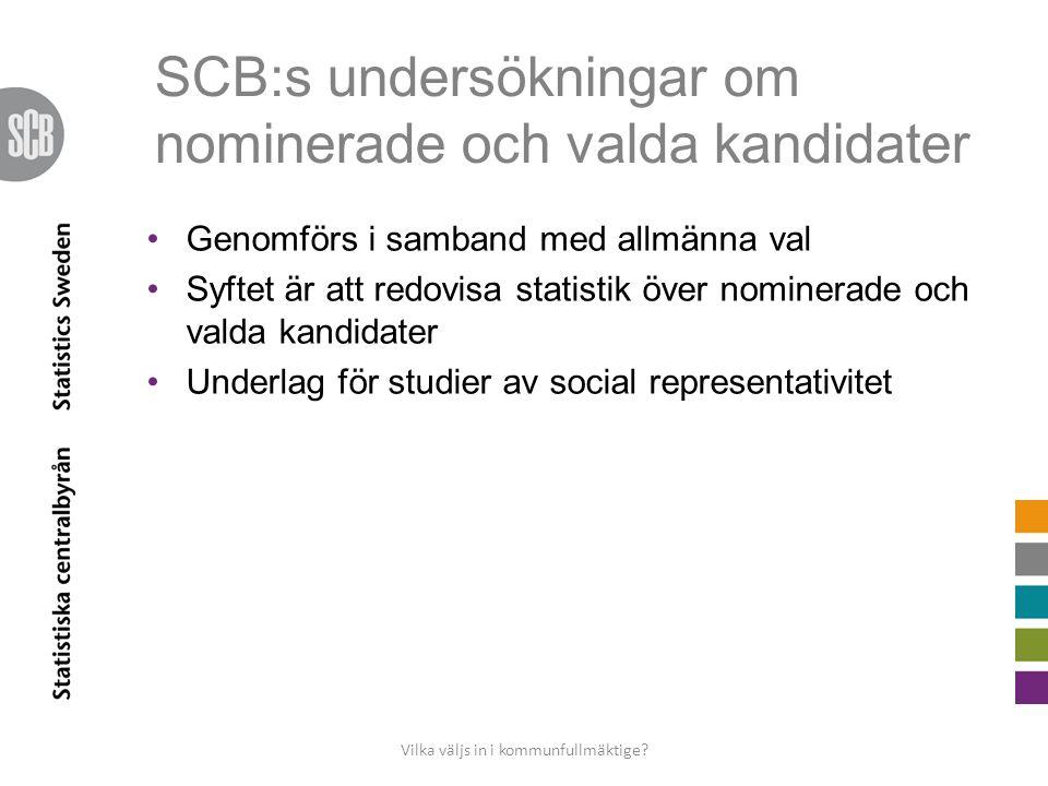 SCB:s undersökningar om nominerade och valda kandidater •Genomförs i samband med allmänna val •Syftet är att redovisa statistik över nominerade och valda kandidater •Underlag för studier av social representativitet Vilka väljs in i kommunfullmäktige?