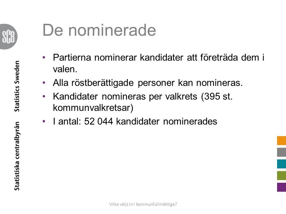 De nominerade •Partierna nominerar kandidater att företräda dem i valen.
