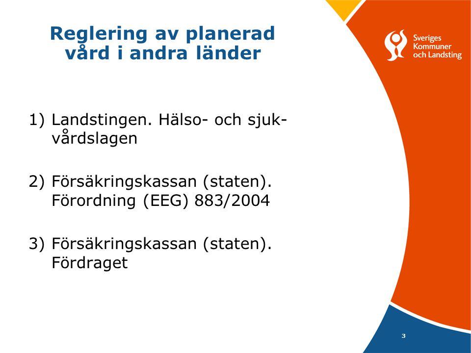 3 Reglering av planerad vård i andra länder 1) Landstingen. Hälso- och sjuk- vårdslagen 2) Försäkringskassan (staten). Förordning (EEG) 883/2004 3) Fö