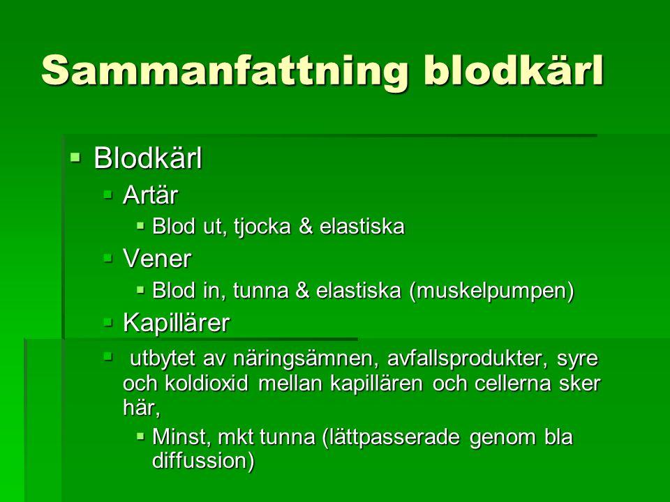 Sammanfattning blodkärl  Blodkärl  Artär  Blod ut, tjocka & elastiska  Vener  Blod in, tunna & elastiska (muskelpumpen)  Kapillärer  utbytet av