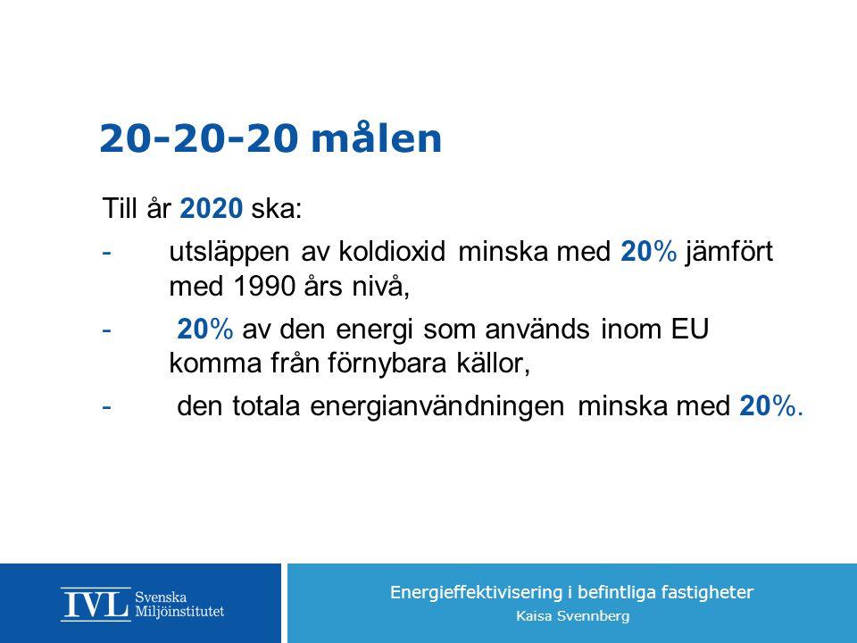 Energieffektivisering i befintliga fastigheter Kaisa Svennberg 20-20-20 målen Till år 2020 ska: -utsläppen av koldioxid minska med 20% jämfört med 1990 års nivå, - 20% av den energi som används inom EU komma från förnybara källor, - den totala energianvändningen minska med 20%.