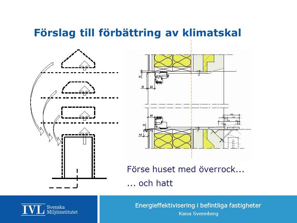 Energieffektivisering i befintliga fastigheter Kaisa Svennberg Förslag till förbättring av klimatskal Förse huset med överrock......