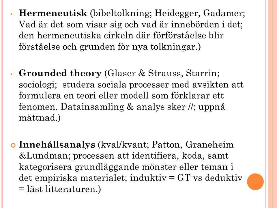 • Hermeneutisk (bibeltolkning; Heidegger, Gadamer; Vad är det som visar sig och vad är innebörden i det; den hermeneutiska cirkeln där förförståelse b