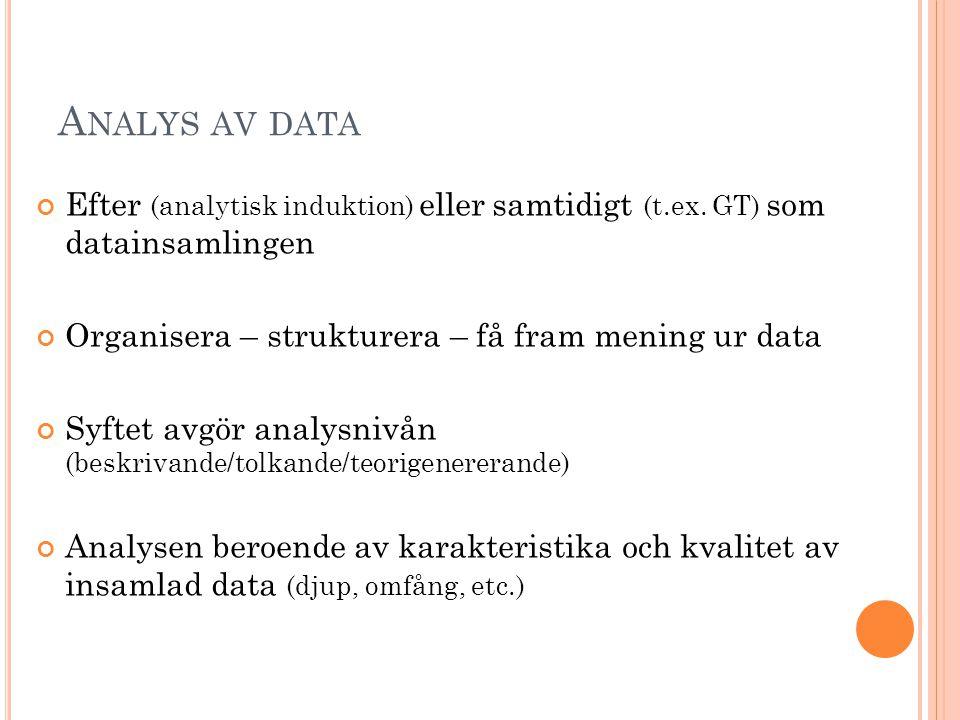 A NALYS AV DATA Efter (analytisk induktion) eller samtidigt (t.ex. GT) som datainsamlingen Organisera – strukturera – få fram mening ur data Syftet av