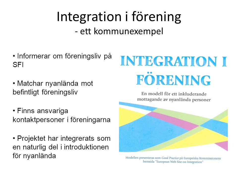 Integration i förening - ett kommunexempel • Informerar om föreningsliv på SFI • Matchar nyanlända mot befintligt föreningsliv • Finns ansvariga konta
