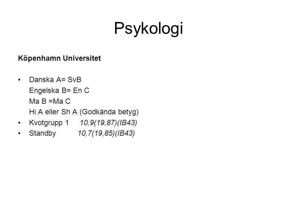 Psykologi Köpenhamn Universitet •Danska A= SvB Engelska B= En C Ma B =Ma C Hi A eller Sh A (Godkända betyg) •Kvotgrupp 1 10,9(19,87)(IB43) •Standby 10