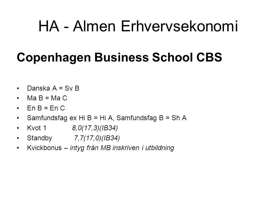 HA - Almen Erhvervsekonomi Copenhagen Business School CBS •Danska A = Sv B •Ma B = Ma C •En B = En C •Samfundsfag ex Hi B = Hi A, Samfundsfag B = Sh A