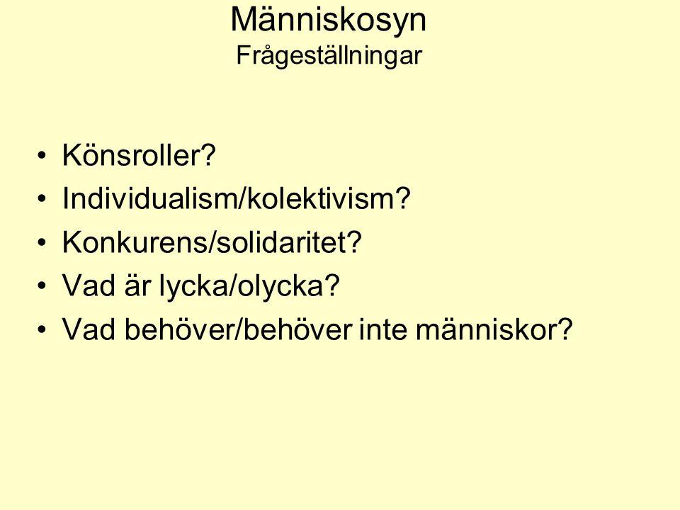 Människosyn Frågeställningar •Könsroller? •Individualism/kolektivism? •Konkurens/solidaritet? •Vad är lycka/olycka? •Vad behöver/behöver inte människo