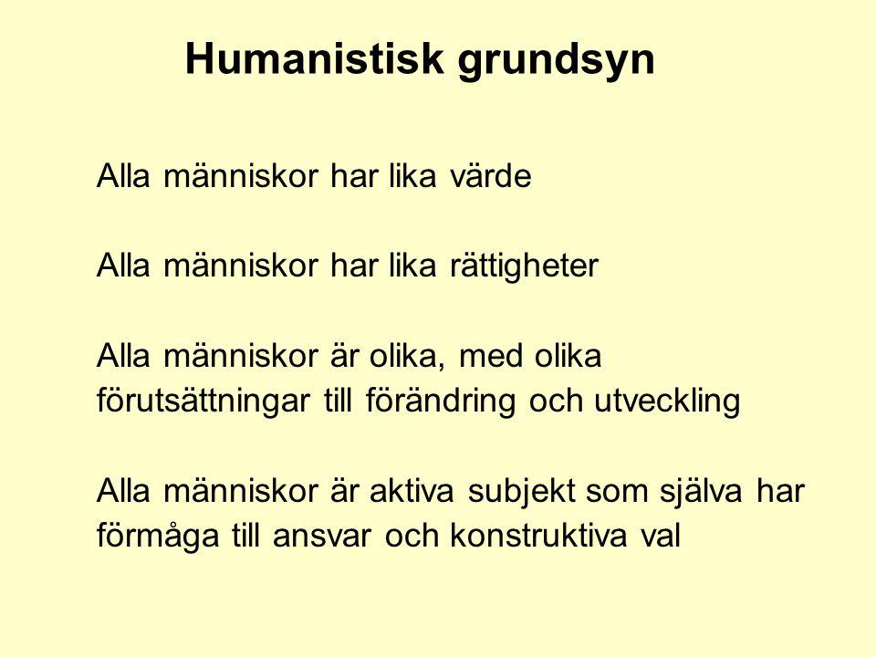 Humanistisk grundsyn Alla människor har lika värde Alla människor har lika rättigheter Alla människor är olika, med olika förutsättningar till förändr