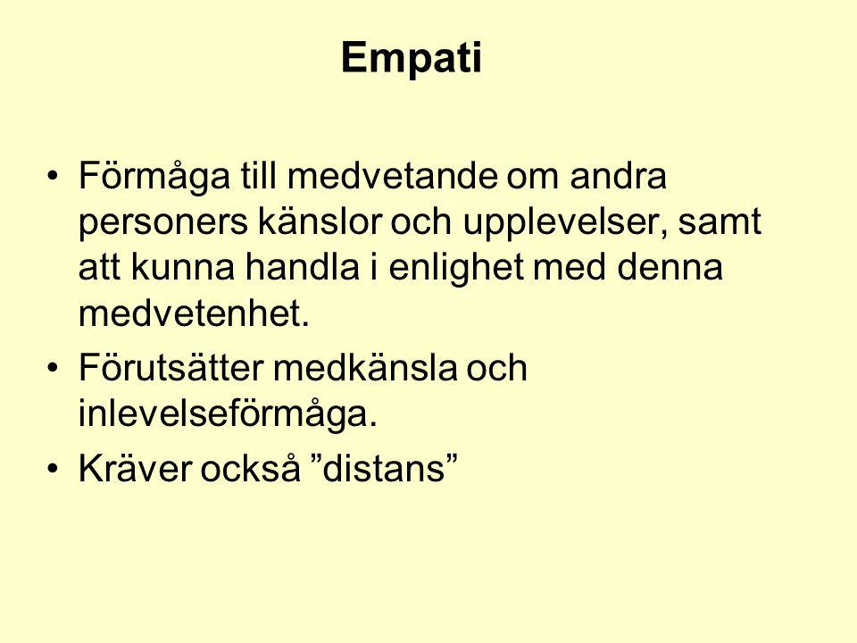 Empati •Förmåga till medvetande om andra personers känslor och upplevelser, samt att kunna handla i enlighet med denna medvetenhet. •Förutsätter medkä