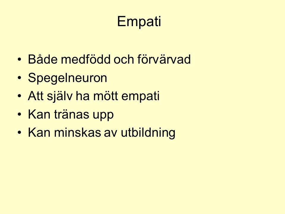 Empati •Både medfödd och förvärvad •Spegelneuron •Att själv ha mött empati •Kan tränas upp •Kan minskas av utbildning