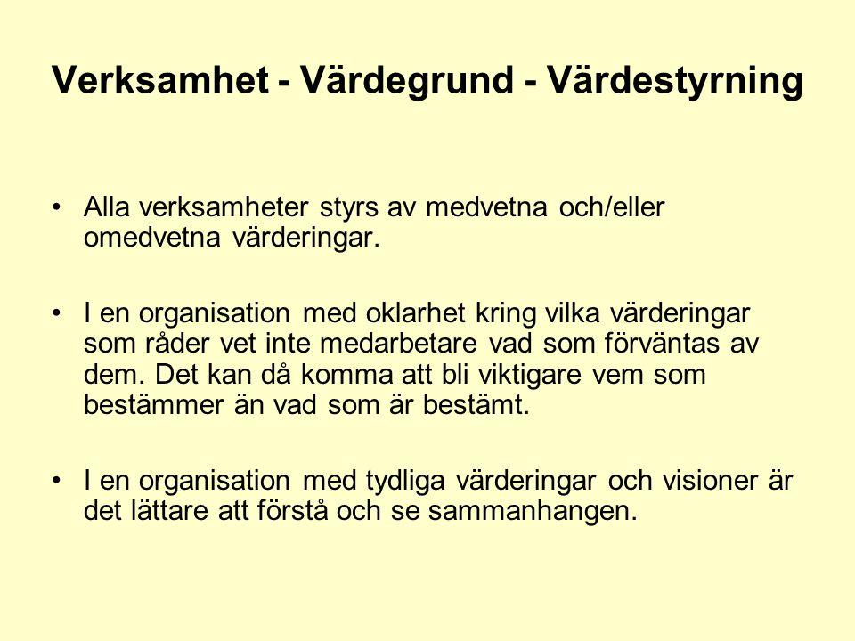 Verksamhet - Värdegrund - Värdestyrning •Alla verksamheter styrs av medvetna och/eller omedvetna värderingar. •I en organisation med oklarhet kring vi