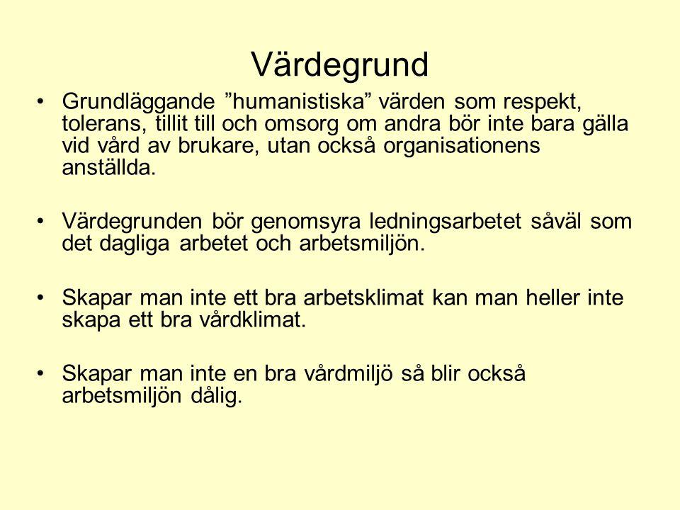 """Värdegrund •Grundläggande """"humanistiska"""" värden som respekt, tolerans, tillit till och omsorg om andra bör inte bara gälla vid vård av brukare, utan o"""