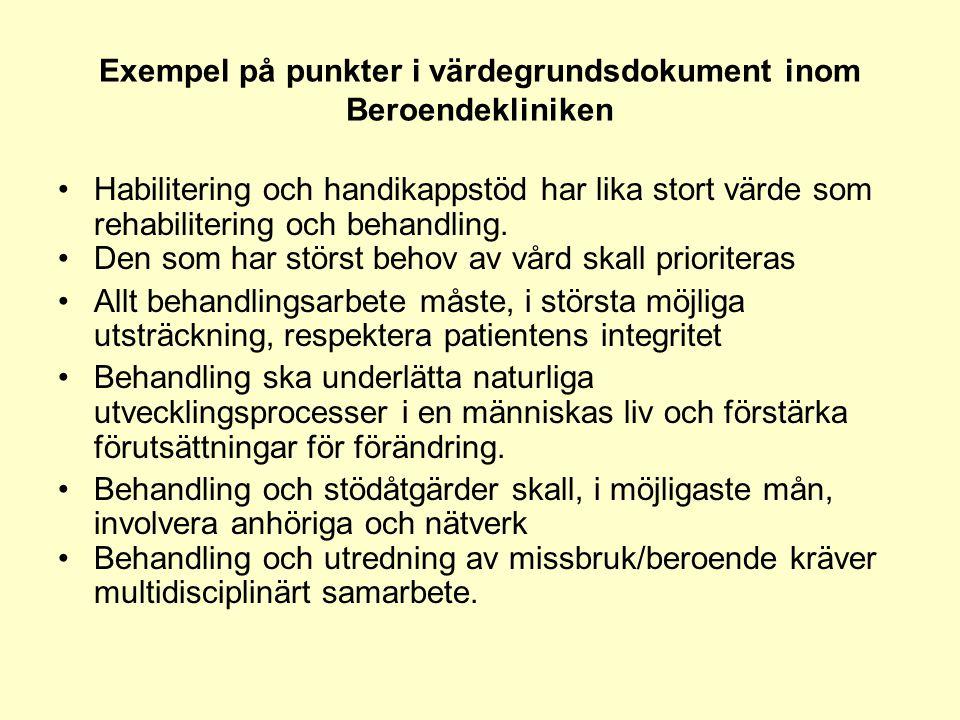 Exempel på punkter i värdegrundsdokument inom Beroendekliniken •Habilitering och handikappstöd har lika stort värde som rehabilitering och behandling.