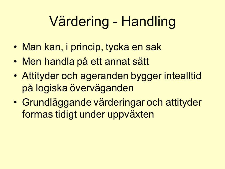 Värdering - Handling •Man kan, i princip, tycka en sak •Men handla på ett annat sätt •Attityder och ageranden bygger intealltid på logiska övervägande