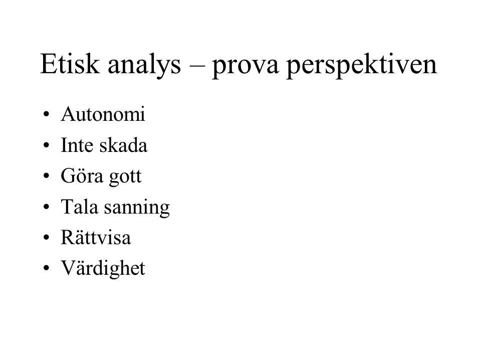 Etisk analys – prova perspektiven •Autonomi •Inte skada •Göra gott •Tala sanning •Rättvisa •Värdighet