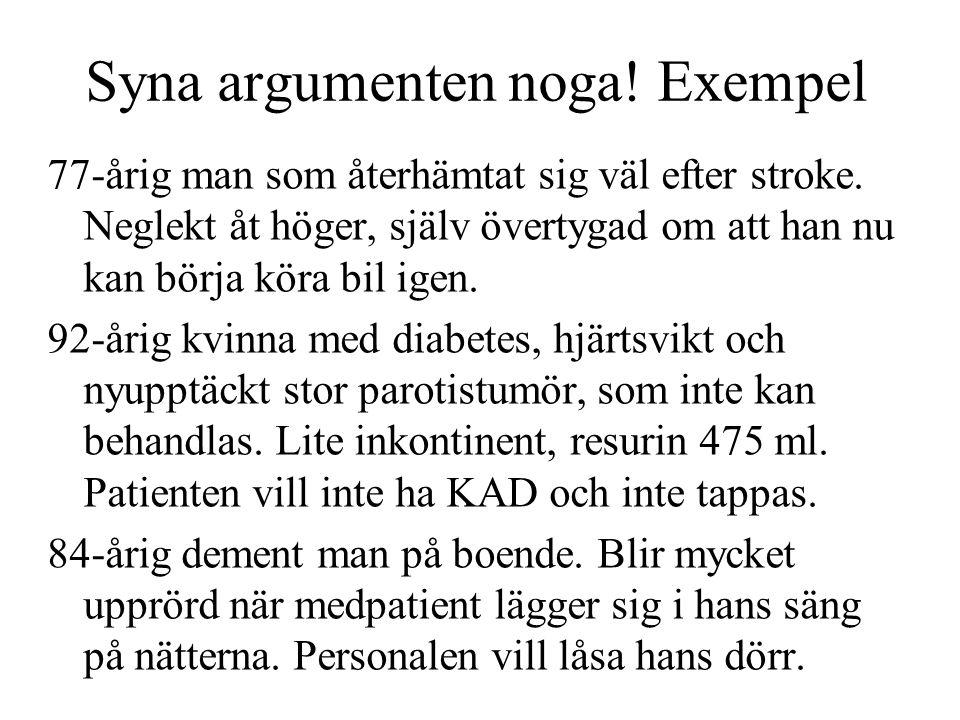 Syna argumenten noga! Exempel 77-årig man som återhämtat sig väl efter stroke. Neglekt åt höger, själv övertygad om att han nu kan börja köra bil igen