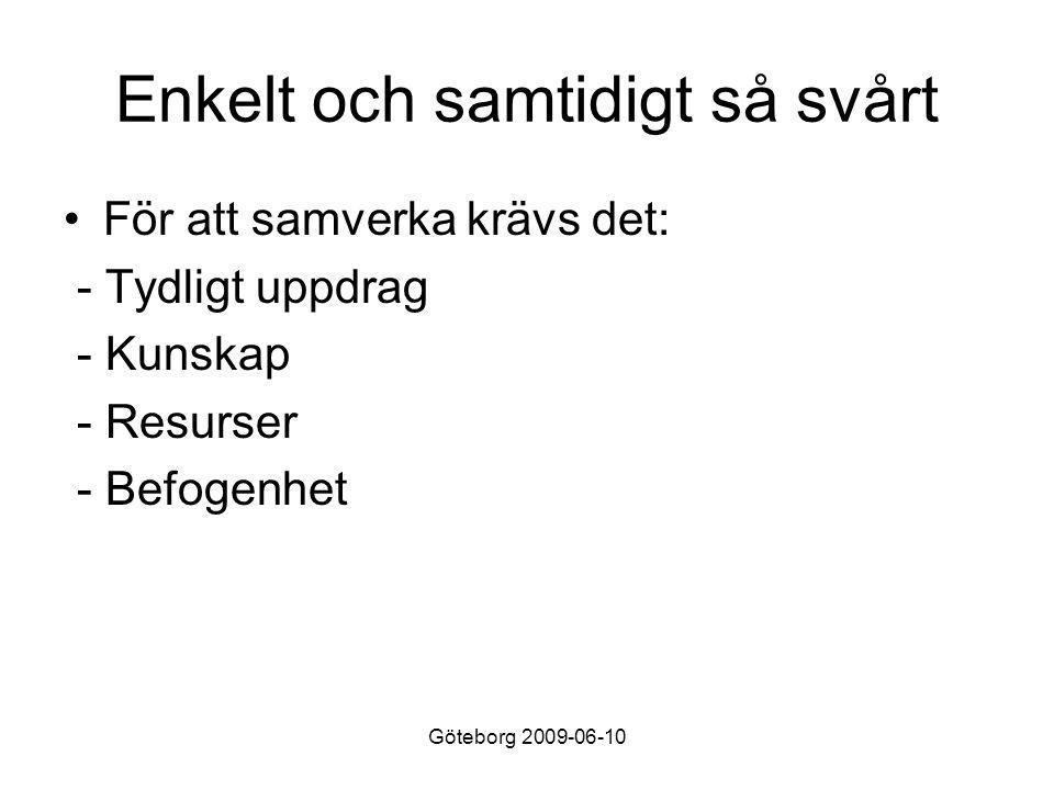 Göteborg 2009-06-10 Enkelt och samtidigt så svårt •För att samverka krävs det: - Tydligt uppdrag - Kunskap - Resurser - Befogenhet