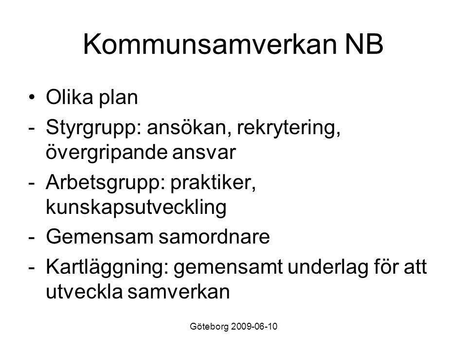 Göteborg 2009-06-10 Kommunsamverkan NB •Olika plan -Styrgrupp: ansökan, rekrytering, övergripande ansvar -Arbetsgrupp: praktiker, kunskapsutveckling -Gemensam samordnare -Kartläggning: gemensamt underlag för att utveckla samverkan