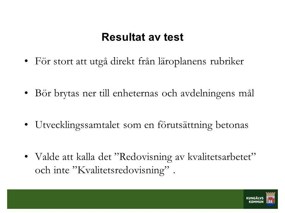 Resultat av test •För stort att utgå direkt från läroplanens rubriker •Bör brytas ner till enheternas och avdelningens mål •Utvecklingssamtalet som en förutsättning betonas •Valde att kalla det Redovisning av kvalitetsarbetet och inte Kvalitetsredovisning .