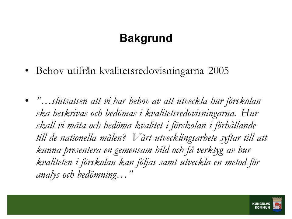 Bakgrund •Behov utifrån kvalitetsredovisningarna 2005 • …slutsatsen att vi har behov av att utveckla hur förskolan ska beskrivas och bedömas i kvalitetsredovisningarna.