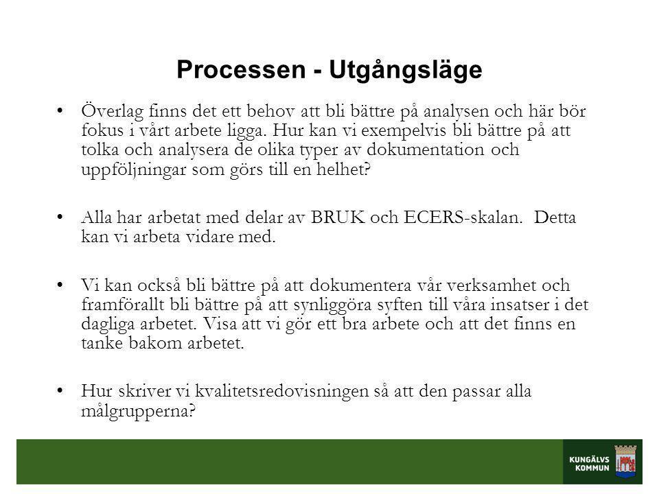 Processen - Utgångsläge •Överlag finns det ett behov att bli bättre på analysen och här bör fokus i vårt arbete ligga.