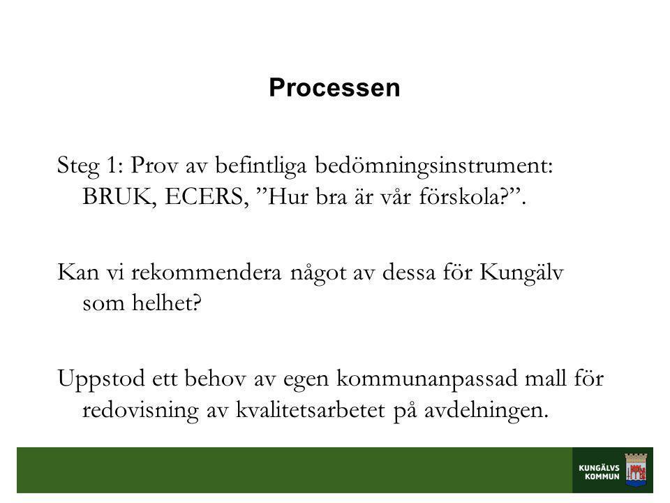 Processen Steg 1: Prov av befintliga bedömningsinstrument: BRUK, ECERS, Hur bra är vår förskola? .