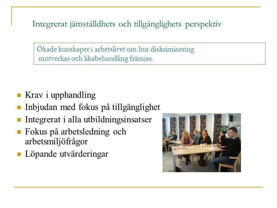  Krav i upphandling  Inbjudan med fokus på tillgänglighet  Integrerat i alla utbildningsinsatser  Fokus på arbetsledning och arbetsmiljöfrågor  L