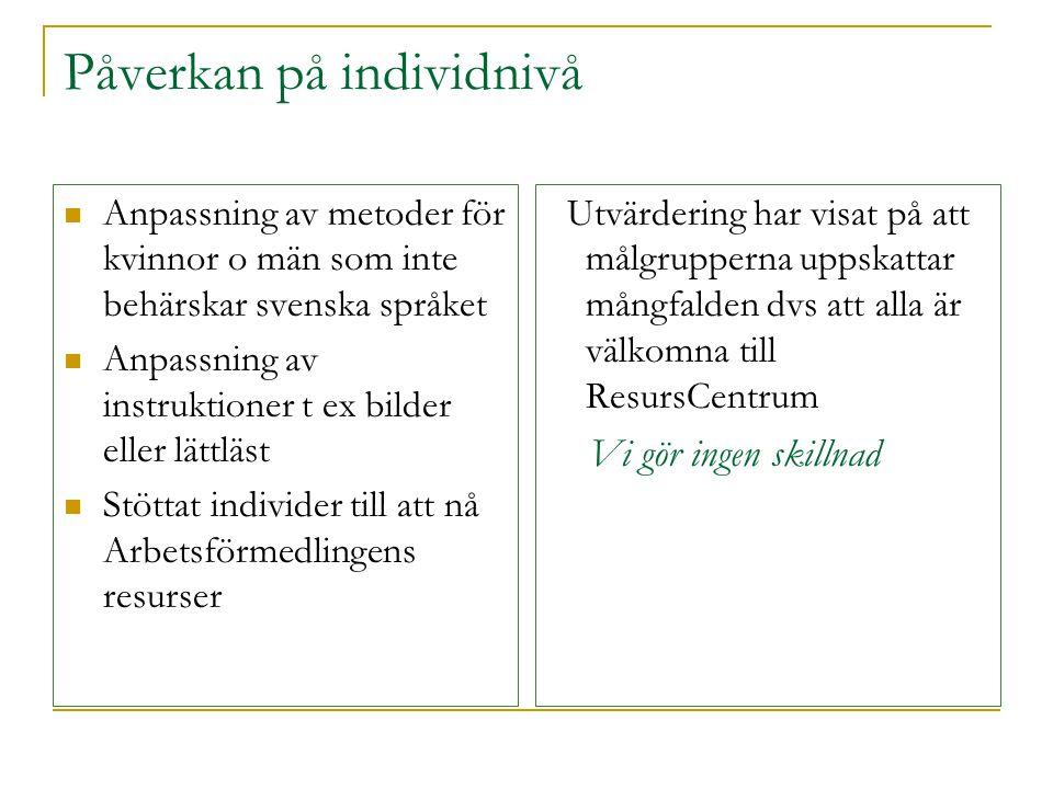 Påverkan på individnivå  Anpassning av metoder för kvinnor o män som inte behärskar svenska språket  Anpassning av instruktioner t ex bilder eller l