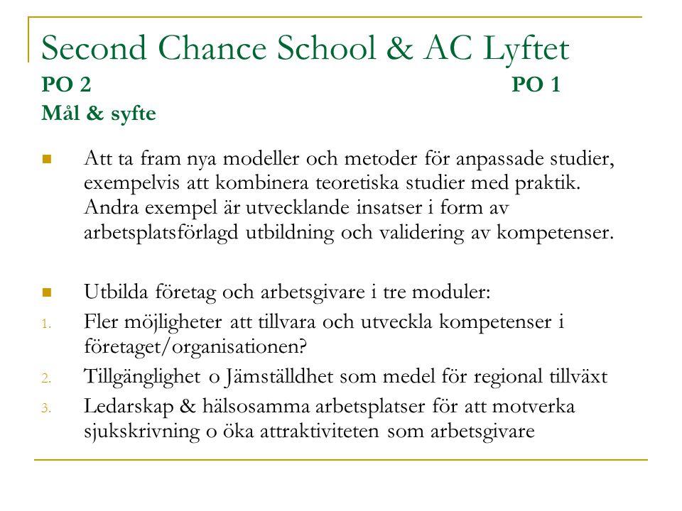Second Chance School & AC Lyftet PO 2 PO 1 Mål & syfte  Att ta fram nya modeller och metoder för anpassade studier, exempelvis att kombinera teoretis