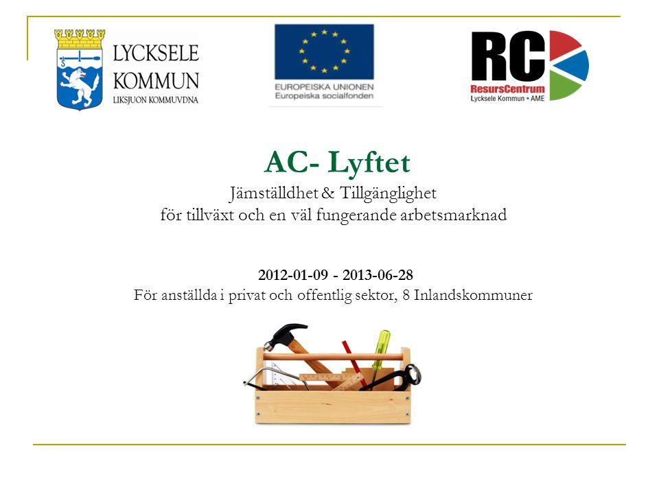 AC- Lyftet Jämställdhet & Tillgänglighet för tillväxt och en väl fungerande arbetsmarknad 2012-01-09 - 2013-06-28 För anställda i privat och offentlig