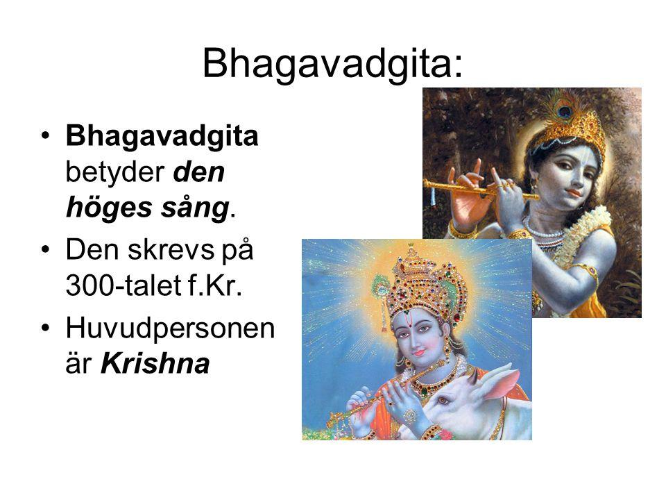 Bhagavadgita: •Bhagavadgita betyder den höges sång. •Den skrevs på 300-talet f.Kr. •Huvudpersonen är Krishna