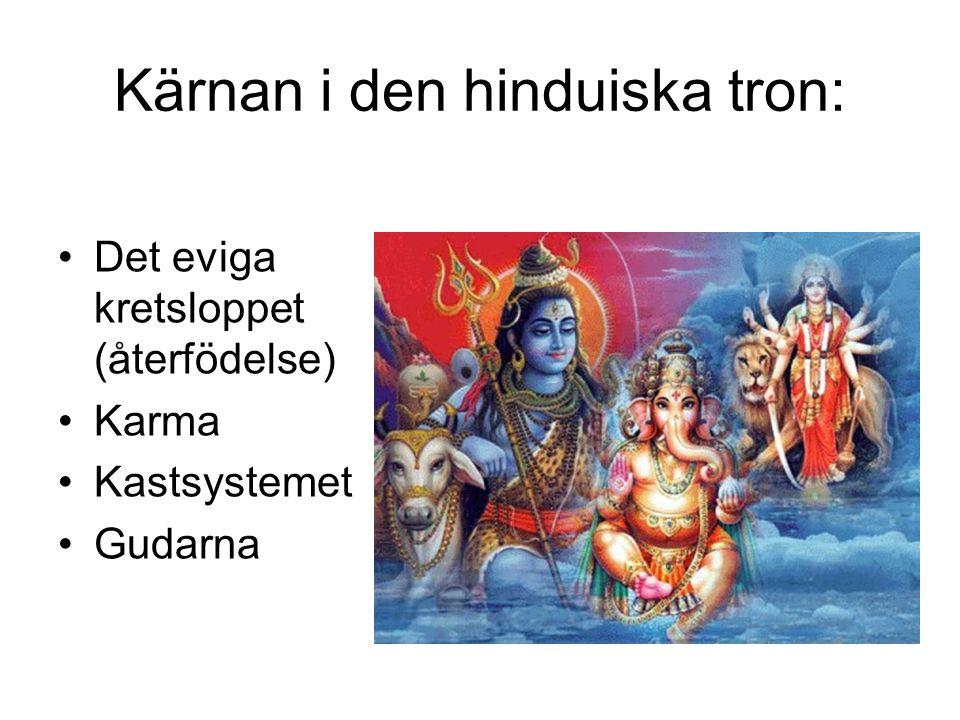 Kärnan i den hinduiska tron: •Det eviga kretsloppet (återfödelse) •Karma •Kastsystemet •Gudarna
