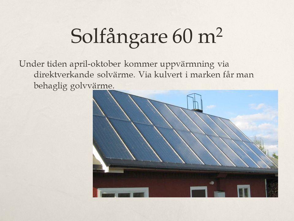 Solfångare 60 m 2 Under tiden april-oktober kommer uppvärmning via direktverkande solvärme. Via kulvert i marken får man behaglig golvvärme.