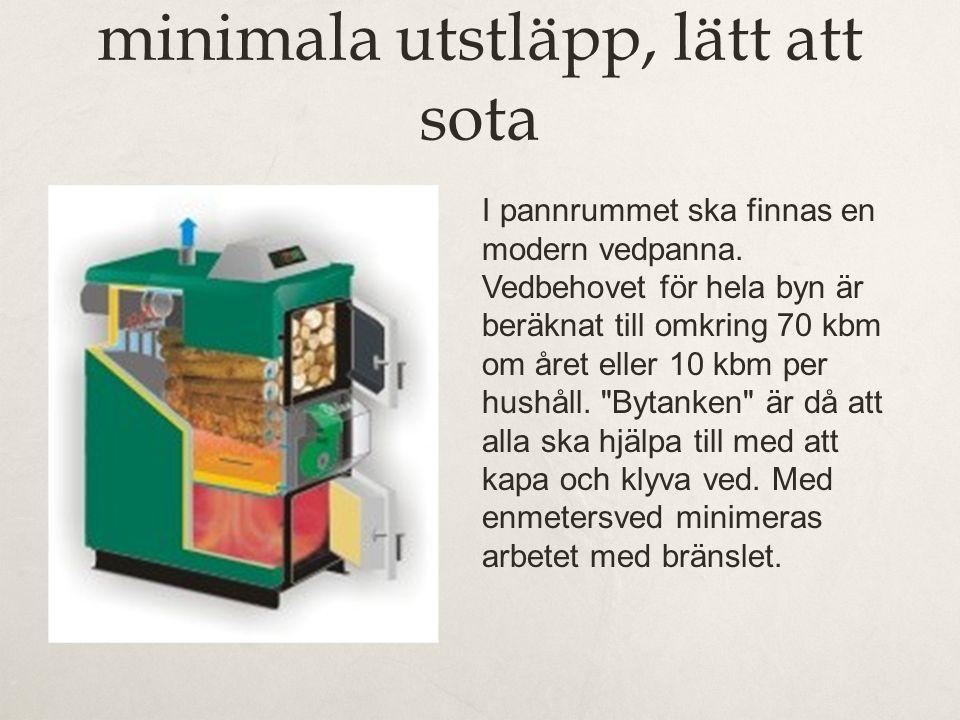 Polsk Vedpanna, med minimala utstläpp, lätt att sota I pannrummet ska finnas en modern vedpanna. Vedbehovet för hela byn är beräknat till omkring 70 k