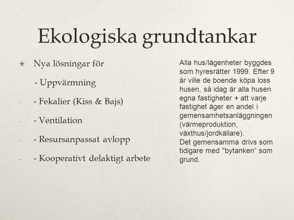 Ekologiska grundtankar  Nya lösningar för - Uppvärmning - - Fekalier (Kiss & Bajs) - - Ventilation - - Resursanpassat avlopp - - Kooperativt delaktigt arbete Alla hus/lägenheter byggdes som hyresrätter 1999.