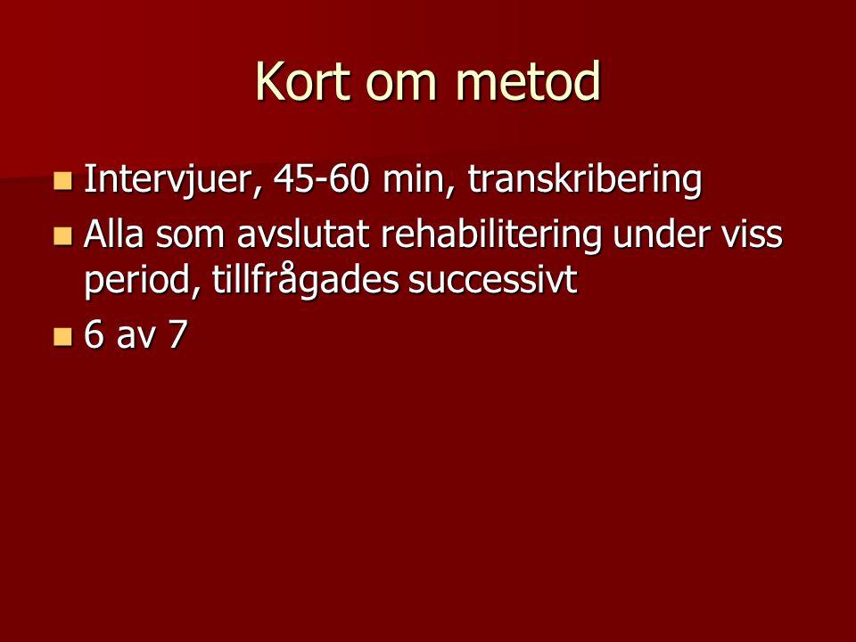 Kort om metod  Intervjuer, 45-60 min, transkribering  Alla som avslutat rehabilitering under viss period, tillfrågades successivt  6 av 7