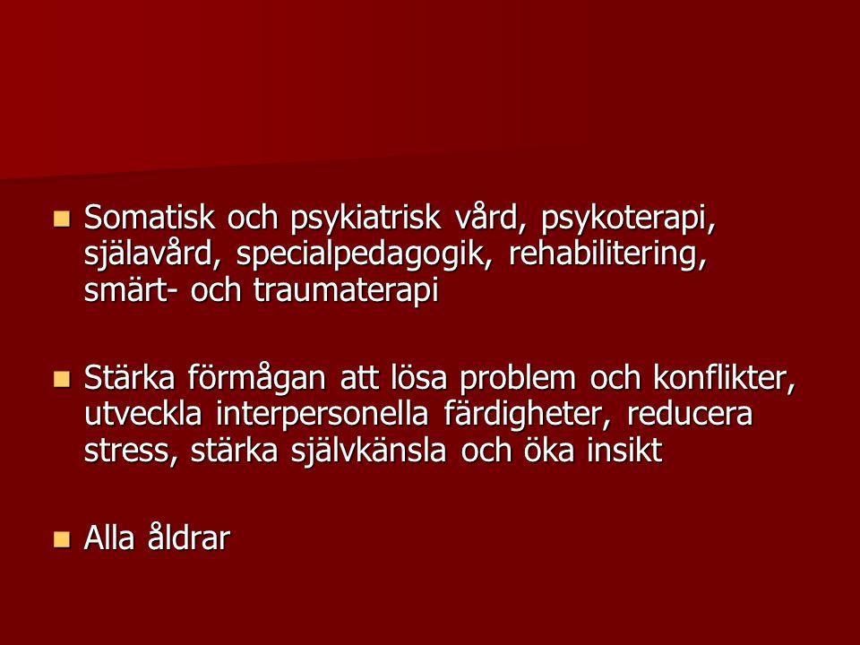 Svensk forskning  Rehabiliteringsprogram kroniska smärttillstånd och psykosomatiska sjukdomar – konstnärliga terapier (dans, drama, musik, bild) visade förbättring allmänt hälsotillstånd, ångest -depression och kroppsliga symtom.