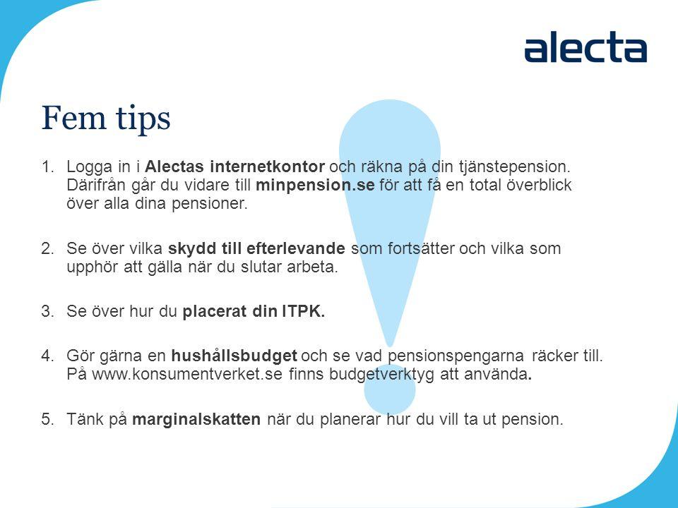 Fem tips 1.Logga in i Alectas internetkontor och räkna på din tjänstepension. Därifrån går du vidare till minpension.se för att få en total överblick