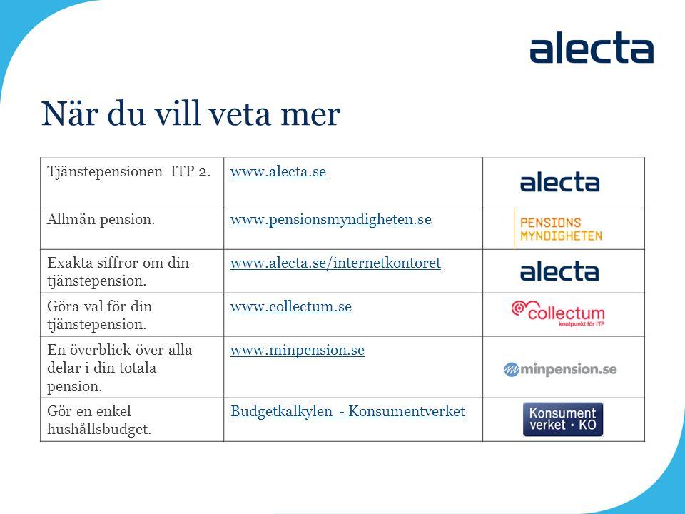 När du vill veta mer Tjänstepensionen ITP 2.www.alecta.se Allmän pension.www.pensionsmyndigheten.se Exakta siffror om din tjänstepension. www.alecta.s