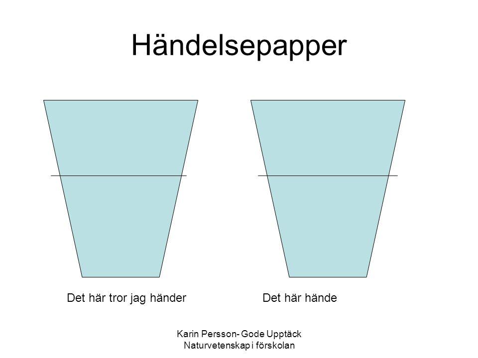 Karin Persson- Gode Upptäck Naturvetenskap i förskolan Händelsepapper Det här tror jag händerDet här hände